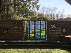 Decked 'spiritual area' Stained Glass landscape